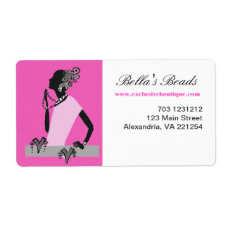 Hot Pink Woman Jewellery Fashion Model Shipping Label