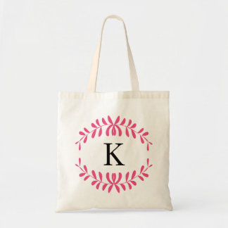 Hot Pink Wreath Personalized Monogram Canvas Bags