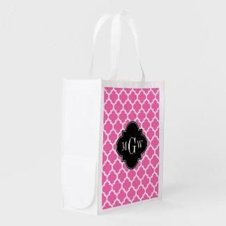 Hot Pink Wt Moroccan #5 Black 3 Initial Monogram Reusable Grocery Bag