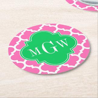 Hot Pink Wt Moroccan #5 Emerald 3 Initial Monogram Round Paper Coaster