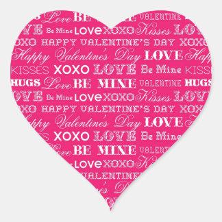 Hot Pink XOXO Love Be Mine Happy Valentine's Day Sticker
