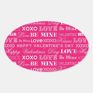 Hot Pink XOXO Love Be Mine Happy Valentine's Day Stickers
