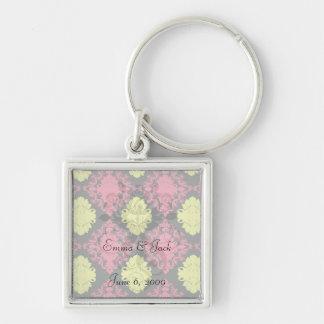 hot pink yellow black diamond damask Silver-Colored square key ring