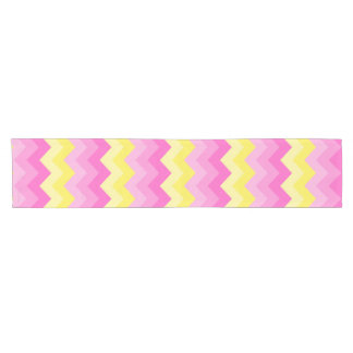 Hot Pink Yellow Chevron Ombre Pattern Print Short Table Runner