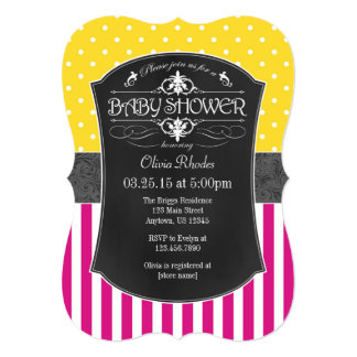 Hot Pink Yellow Gray Chalkboard Stripe Baby Shower 13 Cm X 18 Cm Invitation Card