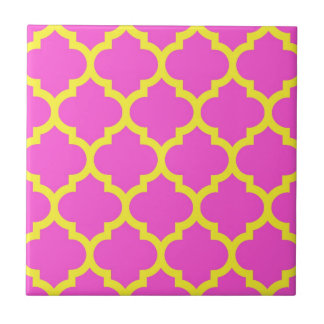 Hot Pink Yellow Moroccan Quatrefoil Pattern #5 Small Square Tile