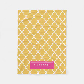 Hot Pink & Yellow Quatrefoil | Fleece Blanket