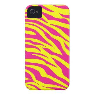 Hot Pink Yellow Wild Animal Print Zebra Stripes iPhone 4 Cases