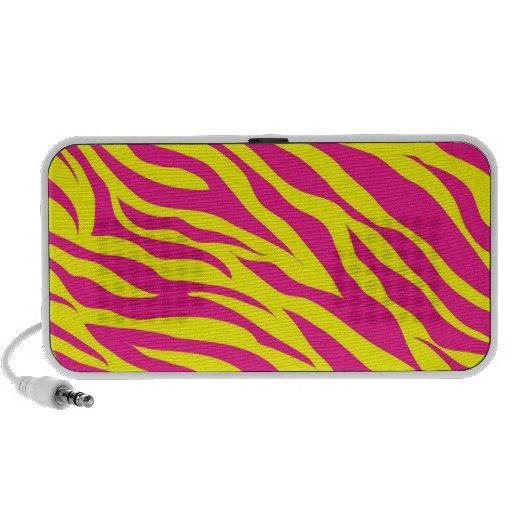 Hot Pink Yellow Wild Animal Print Zebra Stripes Travel Speaker