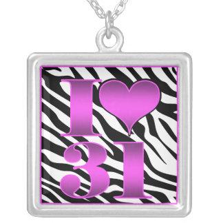 Hot Pink Zebra 31 Square Pendant Necklace