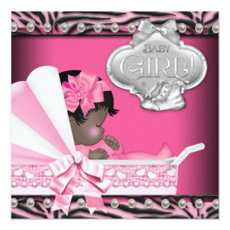 Hot Pink Zebra African American Baby Shower Announcement
