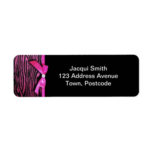 Hot pink zebra and ribbon bow graphic