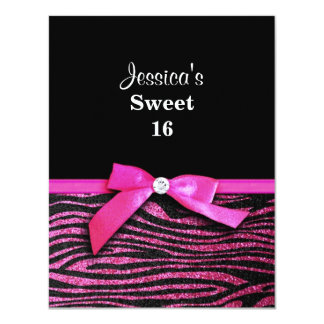 Hot pink zebra and ribbon bow graphic 11 cm x 14 cm invitation card