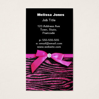 Hot pink zebra and ribbon bow graphic business card