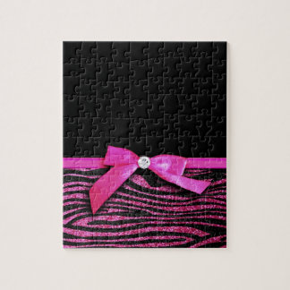 Hot pink zebra and ribbon bow graphic jigsaw puzzles
