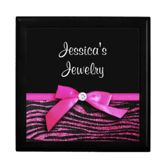 Hot pink zebra and ribbon bow graphic large square gift box