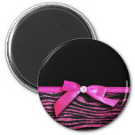 Hot pink zebra and ribbon bow graphic fridge magnet