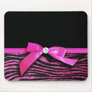 Hot pink zebra and ribbon bow graphic mouse pad