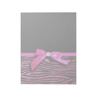 Hot pink zebra and ribbon bow graphic notepad