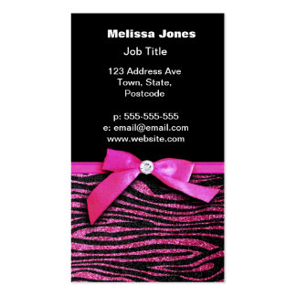 Hot pink zebra and ribbon bow graphic pack of standard business cards