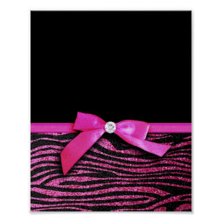 Hot pink zebra and ribbon bow graphic print