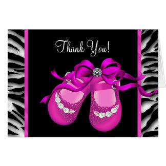 Hot Pink Zebra Baby Girl Thank You Note Card
