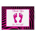 Hot Pink Zebra Baby Shower Thank You Cards