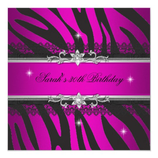 Hot Pink Zebra Black Silver 30th Birthday Party