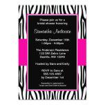 Hot Pink Zebra Bridal Shower 13 Cm X 18 Cm Invitation Card