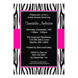 Hot Pink Zebra Bridal Shower Invitation
