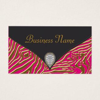 Hot Pink Zebra Business Card