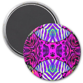 Hot Pink Zebra Cat Paws 7.5 Cm Round Magnet
