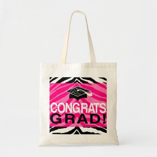 Hot Pink Zebra Congrats Girl's Graduation Party Tote Bags