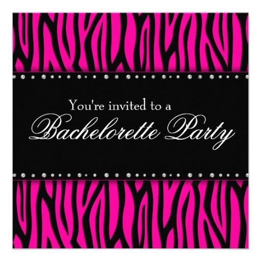 Hot Pink Zebra Diamonds Bachelorette Party Personalized Invitation