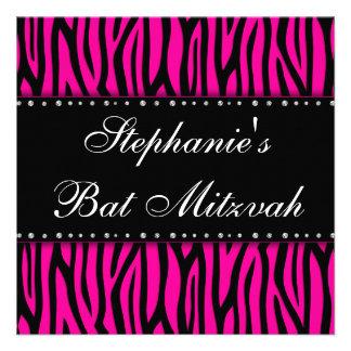 Hot Pink Zebra Diamonds Bat Mitzvah Invitation Personalized Invitation