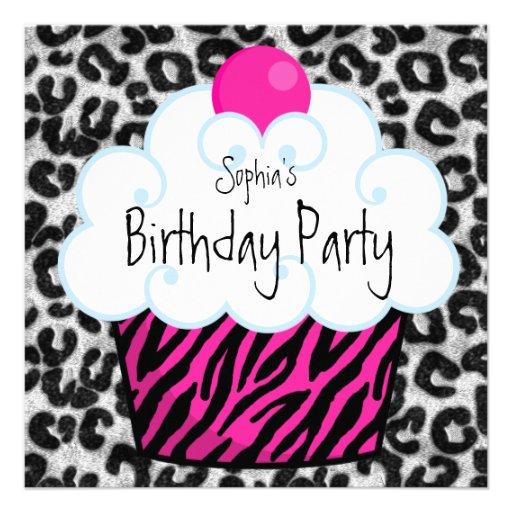Hot Pink Zebra Girls Cupcake Birthday Party Custom Invitations