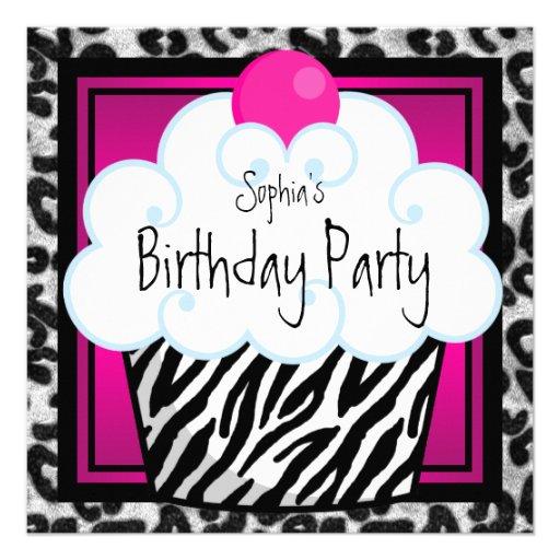 Hot Pink Zebra Girls Cupcake Birthday Party Announcement
