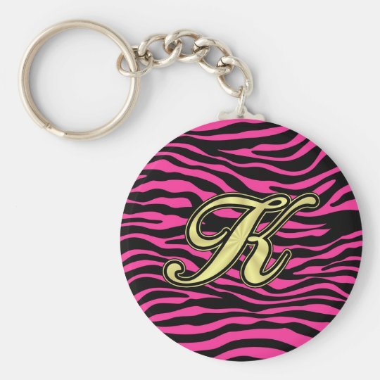 HOT PINK ZEBRA GOLD K KEY RING