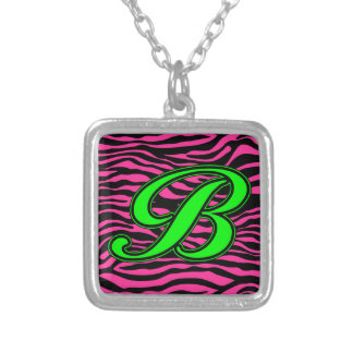 HOT PINK ZEBRA GREEN B PERSONALIZED NECKLACE