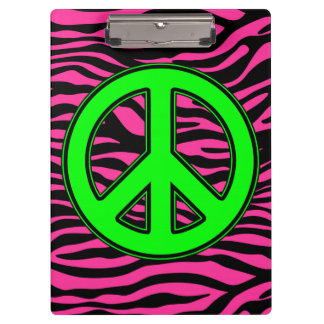 HOT PINK ZEBRA GREEN PEACE CLIPBOARD