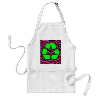 HOT PINK ZEBRA GREEN RECYCLE ADULT APRON