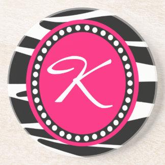 Hot Pink Zebra Monogrammed Initial (Sample) Coaster