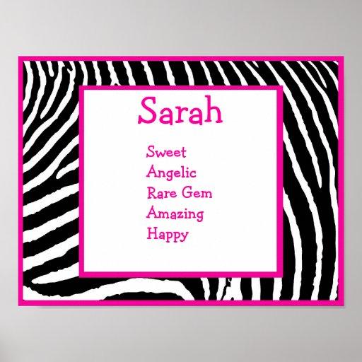 Hot Pink Zebra Name Art Print | Zazzle
