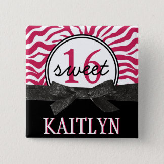 Hot Pink zebra Personalized Sweet 16 15 Cm Square Badge