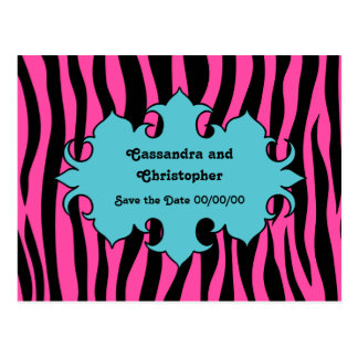 Hot pink zebra print and blue banner save the date postcard
