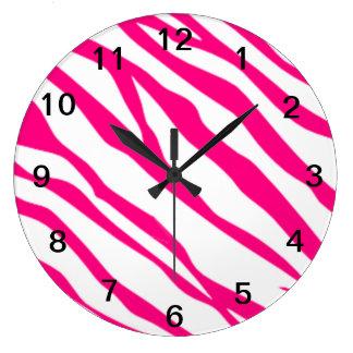 Hot Pink Zebra print clock