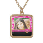 Hot pink zebra print glam Sweet Sixteen birthday Square Pendant Necklace