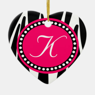 Hot Pink Zebra Print Heart Christmas Ornament