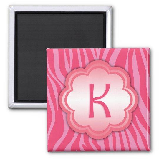 Hot Pink Zebra Print Monogram K Magnet