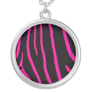 Hot Pink Zebra Print Round Pendant Necklace